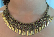 Vintage RUBY RED RHINESTONE LACE FLOWER METAL FRINGE COLLAR CHOKER NECKLACE
