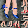 LADIES GLITTER LOW KITTEN HEEL MARY JANE ANKLE STRAPS SHOES SANDALS EVENINGS 3-8