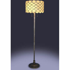 """Tiffany Style White Jeweled Floor Lamp 18"""" Shade Handcrafted New"""
