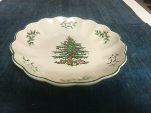 """SUPERB 8 3/8"""" Spode CHRISTMAS TREE ROUND SERVING BOWL DISH All Purpose MINT!!"""