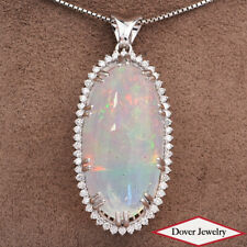 Estate Diamond 36.50ct Opal 18K Gold Large Oval Elongated Pendant 16.5 Gr NR