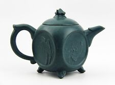 CHINESE YIXING ZISHA CLAY ARTISTIC TEAL-BLUE FLOWERS TEAPOT AND COVER NEW # 28