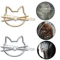 Women Hollow Cute Cat Pearl Hair Clip Clamps Hairpin Barrette Slides Accessories