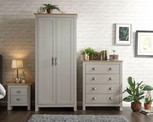 Lancaster 3 Piece Bedroom Set in Cream or Grey Wardrobe Lamp Table Drawers GFW