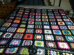 Large Handmade vintage style Crochet Granny Square Blanket/ Throw