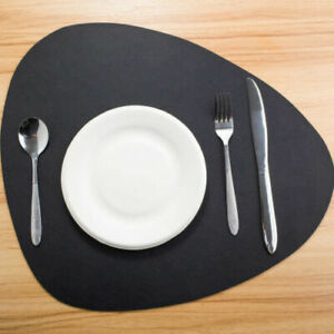 Large Set of 4 Black Faux Leather Placemats Dining Table Place Settings Mats NEW
