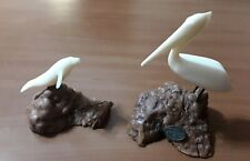 Vintage 5.3/4� John Perry White Pelican & Manatee Sculptures on Burlwood