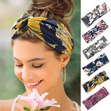 Damen Haarband Stirnband breit Stretch Bandana Bands Winter Sport Knoten Blumen
