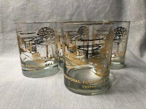 (4) Vintage 1960s Pro Football Hall of Fame Rocks Glasses NFL HOF Canton Ohio