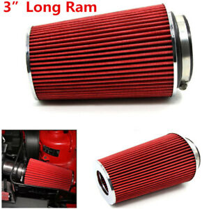 3 inch Red Universal Car Long Ram Cold Air Intake Filter Cone Air Filter System