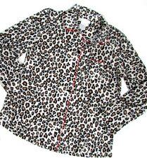 """Carole Hochman Micro Fleece Pyjama Top UK 6/8 Chest 35""""-37"""" Leopard Design"""
