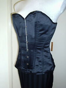 SNOBZ BLACK SATIN OVERBUST VAMP STEEL LACE UP CORSET 26 IN WAIST SIZE 12 TO 14