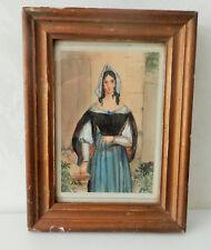 Ancienne gouache sur papier, femme en costume, dans cadre en bois et sous verre