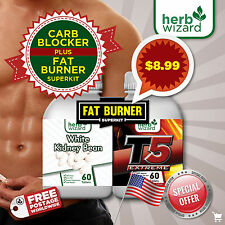 CARB BLOCKER ULTRA White Kidney Bean Extract Diet Pills  T5 Fat Burner MEGA KIT