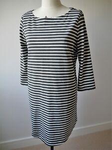 GAP Women Grey White Stripe Long Sleeve Knee Length Jersey Shift Dress L