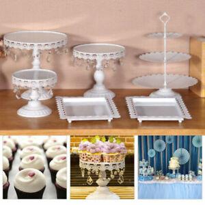 6X/Set Cake Cupcake Stand Display Dessert Holder Wedding Party Crystal Decor UK