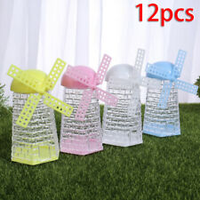 12pcs Plastic Candy Boxes Windmill Shape Sugar Holder Containers Storage Case