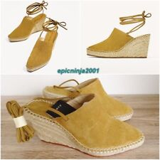 74db9233147 ZARA NATURAL COLOURED SUEDE LEATHER TIED WEDGE SANDAL SHOES SIZE UK 3 EU 36