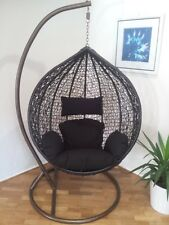 Brand New*Outdoor Swing Egg Trapeze Wicker Rattan Hanging Pod Basket Chair * Blk