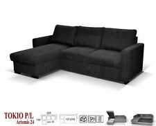NEW LARGE UNIVERSAL CORNER SOFA BED DARK GREY FABRIC UNIVERSAL WITH STORAGE