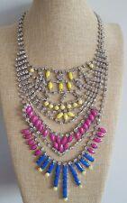 Babero De Burbuja Crystal Azul Rosa Yello Diamanté grandes Declaración Collar Bling Bling
