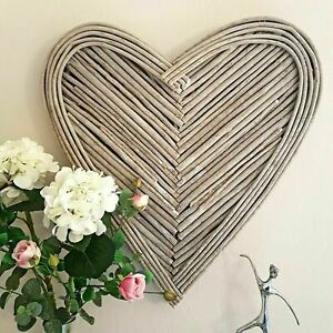 Large 70cm Washed Grey Brown Wicker Heart Hanging Rustic Display Wall Art Home