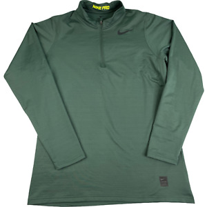 Nike 1/4 Zip Pro-Combat Compression Shirt Long Sleeve Green Solid XL Fitted