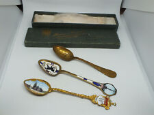 Collectible Vintage Enameled Souvenier Spoons Set 3 Berlin Koln Flagship Olympia