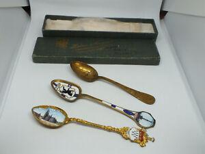 Collectible Vintage Enameled Souvenier Spoons Set 3 Berlin Koln Flagship Olympia