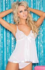 White Babydoll Shirley of Hollywood Short Chemise Lingerie Set Size 8-10 UK