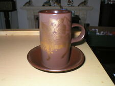 PURBECK POTTERY MEDIEVAL GREEK MYTHS COFFEE MUG / CUP & SAUCER JOUSTING