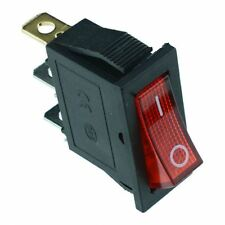 Red Illuminated Rectangle Rocker Switch 230v SPST 6.3mm Terminals