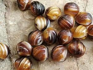 Grooved Brown Caramel White Textured True Vintage Glass Beads DIY Jewelry Making