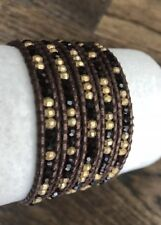 New Auth Chan Luu Dark Red & Gold Mix Five Wrap Metallic Brown Leather Bracelet