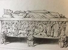 Estampe empire occident tombeau de Louis de Débonnaire milieu XIXeme siècle