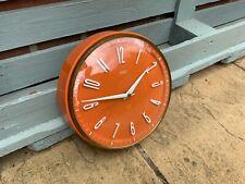 Stunning 1960s Mid Century METAMEC Orange Kitchen Clock In Exc Cond Free P&P