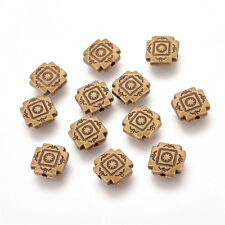 100PC Tibetan Square Carved Metal Beads Lead Free Antique Bronze Spacers 10x10mm