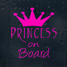 PRINCESS On Board Rosa CORONA Auto Decalcomania Adesivo Vinile