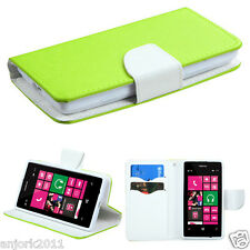 Nokia Lumia 521 Folio Wallet Case w/Card Slots Magnetic Flap Cover Green White