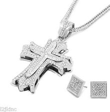 Mens Large Thick Cross Silver Iced Out Pendant 36 Inch Necklace Franco Chain S07