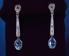 4.15 CT Total Gem Weight Genuine Topaz & Diamond Dangle Earrings – 14KT Gold