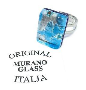 Murano Glass Ring Murano Glass Jewellery Handmade Adjustable Ring 2cm x1.5