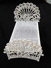 White Enamel Metal Wicker Fan Doll House Miniature bed toy decor