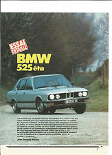 ESSAI ARTICLE PRESSE REPORTAGE ANNEE 1985 BMW 525 ETA 12 PAGES