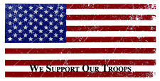 Wholesale Lot of 6 USA We Support Our Troops Distressed Vintage Bumper Sticker
