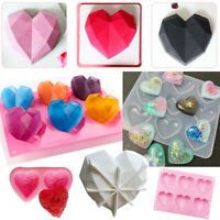 3D Diamond Heart Shape Mold Mould DIY Baking Cake Fondant Jelly Mousse Chocolate