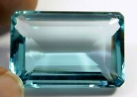 267.90ct. Certified Natural emerald Cut Ocean Blue Aquamarine Loose Gemstone 281