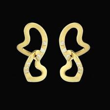 Georg Jensen. 18k Gold Earrings with Diamonds - Interlocking Hearts