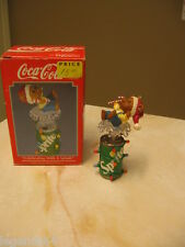 ENESCO COCA COLA ORNAMENT CELEBRATING WITH A SPLASH -  BEAR ON TOP OF SPRITE CAN