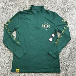 NFL Team Apparel Men's Green Bay Packers Quarter Zip Pullover Green Size Medium